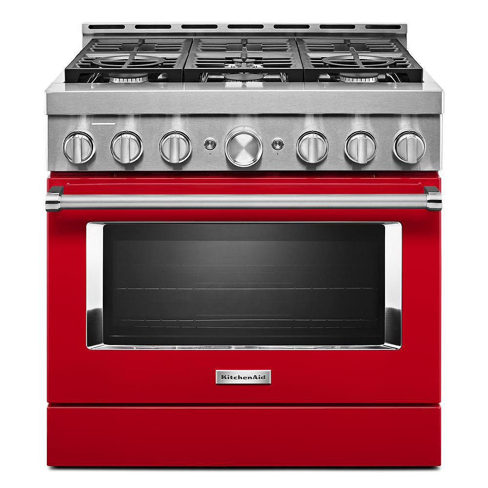 KitchenAid 36-inch 5.1 cu. ft. Smart Commercial-Style Gas Range with Self-Cleaning and True Convection in Passion Red