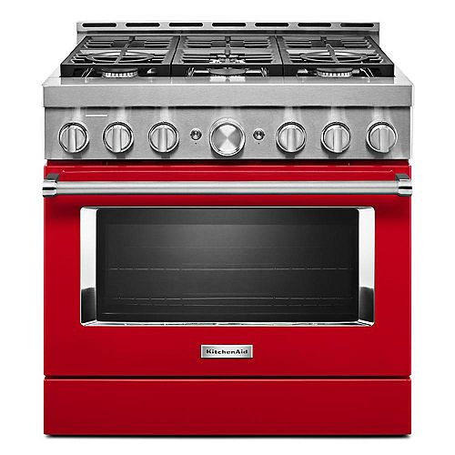 36-inch 5.1 cu. ft. Smart Commercial-Style Gas Range with Self-Cleaning and True Convection in Passion Red