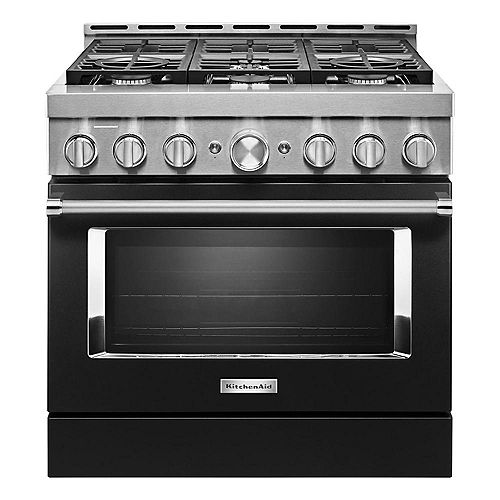 36-inch 5.1 cu. ft. Smart Commercial-Style Gas Range with Self-Cleaning and True Convection in Imperial Black