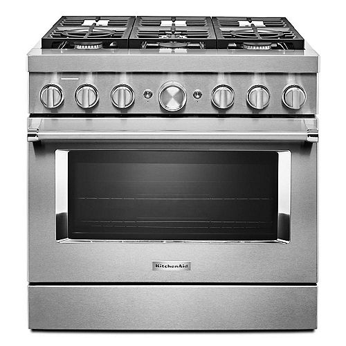 36-inch 5.1 cu. ft. Smart Dual Fuel Range with True Convection and Self- Cleaning in Stainless Steel