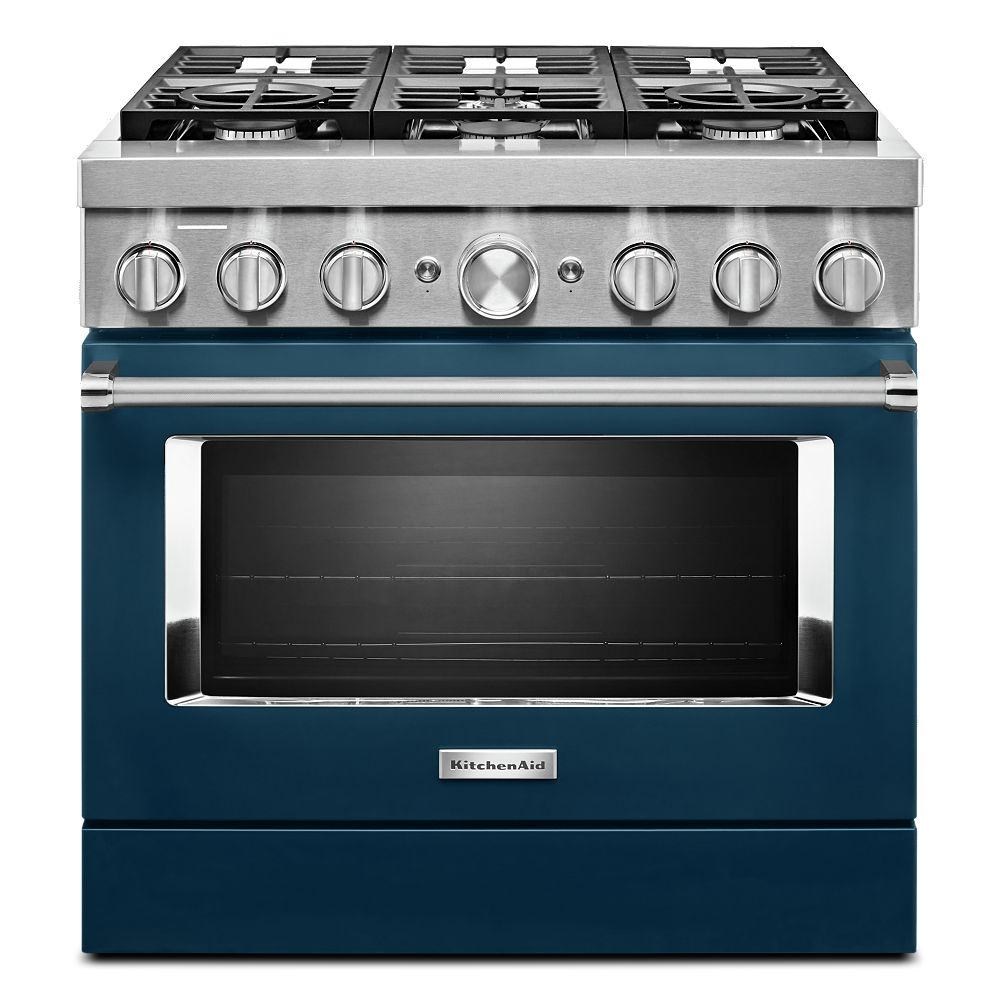 KitchenAid 36-inch 5.1 cu. ft. Dual Fuel Freestanding Smart Range with 6-Burners in Ink Blue