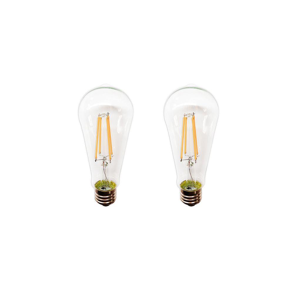 Ecosamrt Paquet De 2 Ampoules St19 3.5W, E26 2700K 40W À Intensité Variable Transparents Blanc Doux