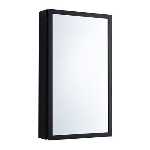 Armoire à pharmacie pour installation en surface ou encastrée avec porte à miroir réversible en Matte Blac 15 pouces de large x 26 pouces de haut