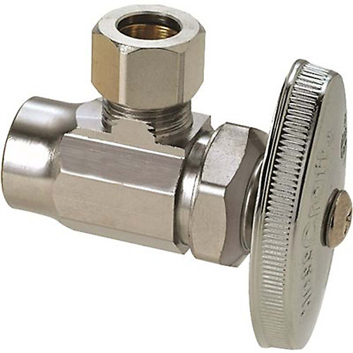 1/2 inch Nominal Sweat Inlet X 3/8 inch O.D. Compression Outlet Brass Multi-Turn Angle Valve In Chrome