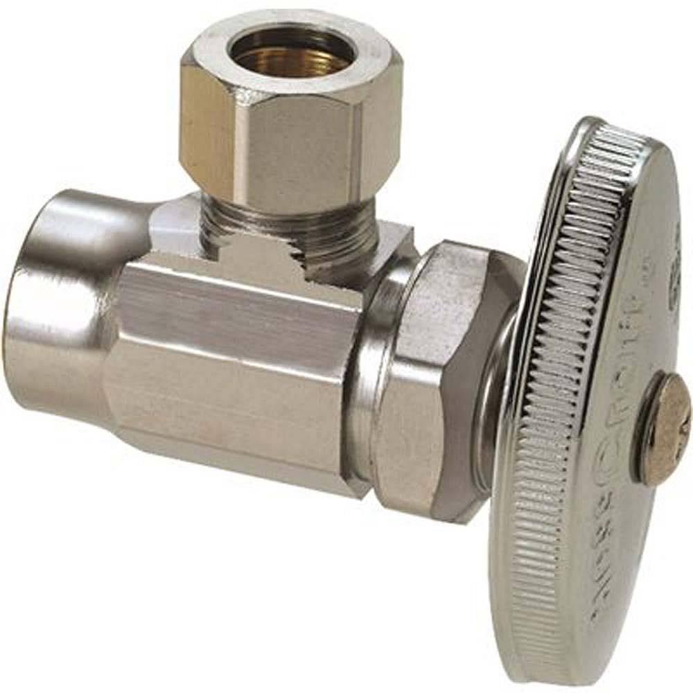 BrassCraft 1/2 inch Nominal Sweat Inlet X 3/8 inch O.D. Compression Outlet Brass Multi-Turn Angle Valve In Chrome