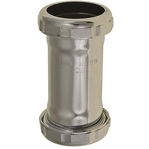 Brass Coupling 1-1/2 inch Chrome Plated Slip Joint