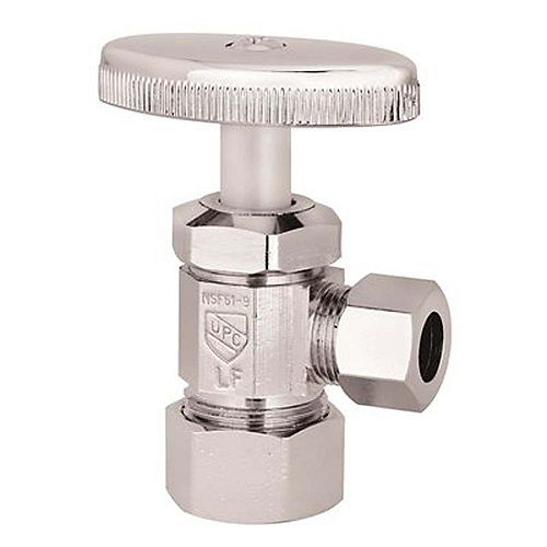Angle Stop 5/8 inch Od Compression X 3/8 inch Od Compression Chrome-Plated Lead-Free