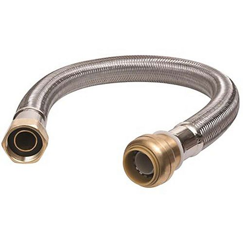 3/4 inch Push-To-Connect X 3/4 inch Fip X 24 inch Braided Stainless Steel Water Heater Connector