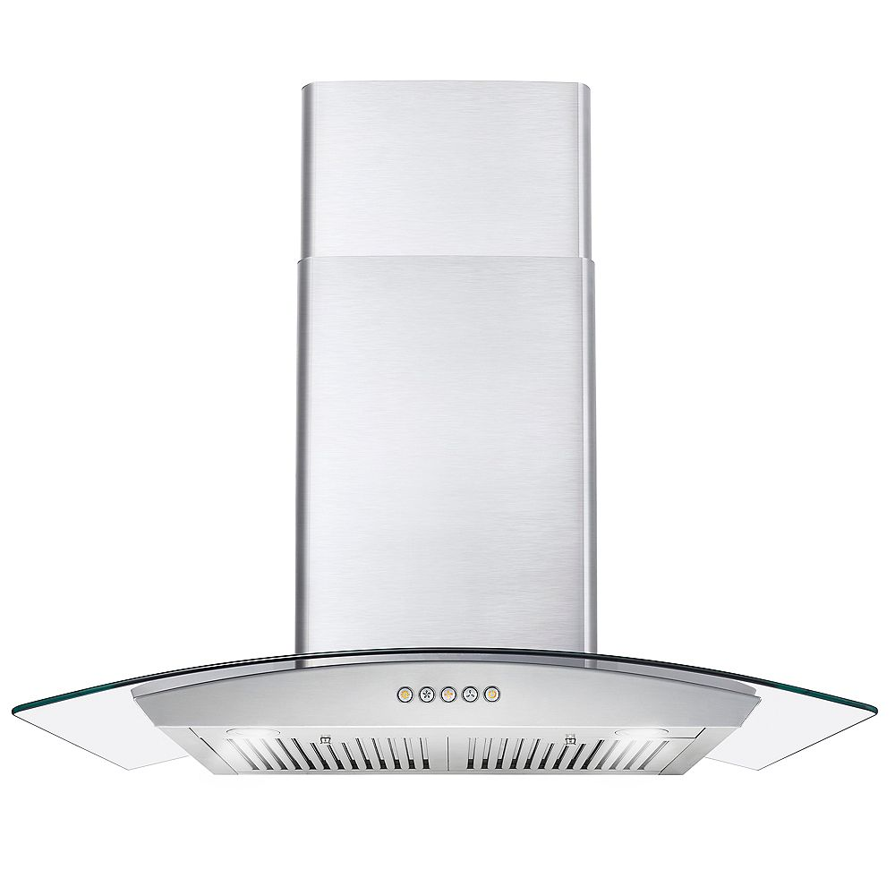 Cosmo 30 in. Ducted Wall Mount Range Hood in Stainless Steel with Push Button Controls, LED Lighting and Permanent Filters