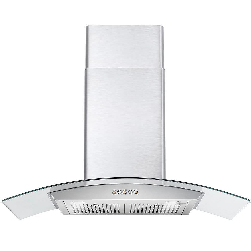 Cosmo 36 in. Ducted Wall Mount Range Hood in Stainless Steel with Push Button Controls, LED Lighting and Permanent Filters