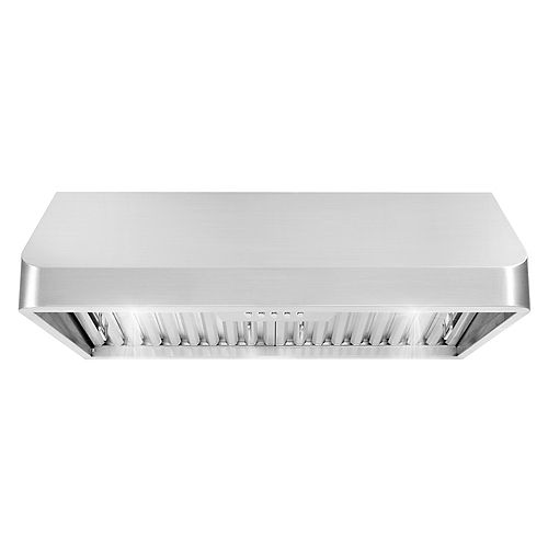 30 in. Ducted Under Cabinet Range Hood in Stainless Steel with Push Button Controls, LED Lighting and Permanent Filters