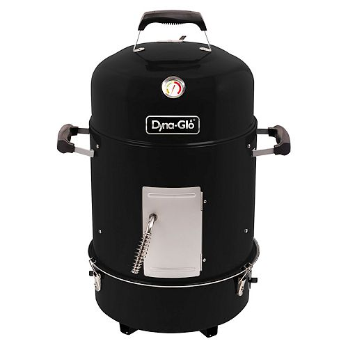Compact Charcoal Bullet Smoker and Grill in High Gloss Black