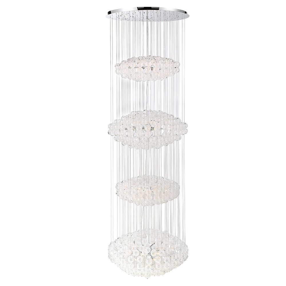 Eurofase Riverdale 36-Light Chrome Chandelier with Clear Shade