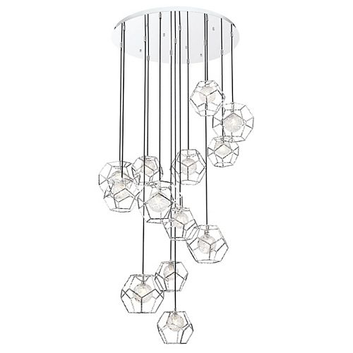 Eurofase Norway 13-Light Chrome Integrated LED Chandelier with Clear Shade