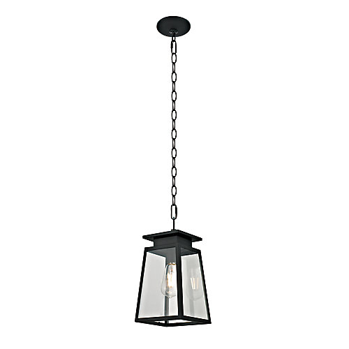 Citadel Collection 1-Light Transitional Outdoor Pendant, Textured Black Finish