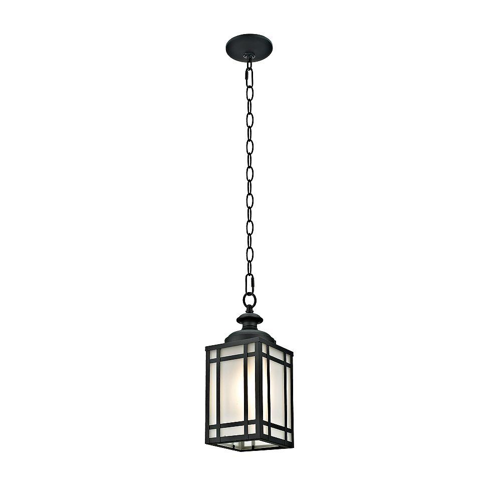 Addington Park Collection Yorkshire, luminaire suspendu extérieur à 1 lumière avec verre givré, fini noir