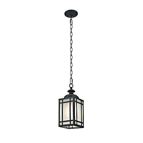 Collection Yorkshire, luminaire suspendu extérieur à 1 lumière avec verre givré, fini noir