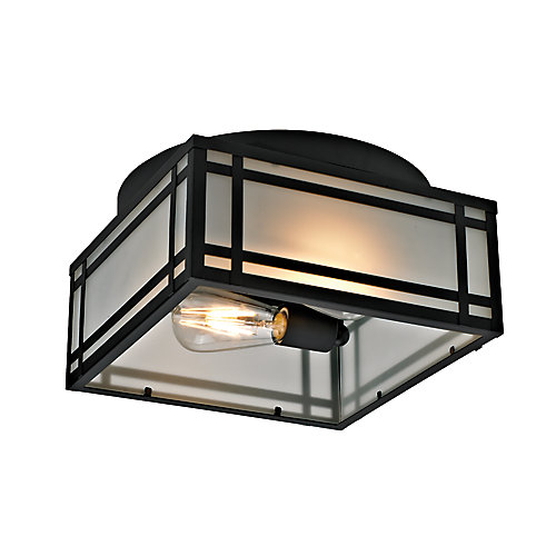 Yorkshire Collection 2-Light Mission-Style Outdoor Flush Mount with Frosted Glass, Black Finish