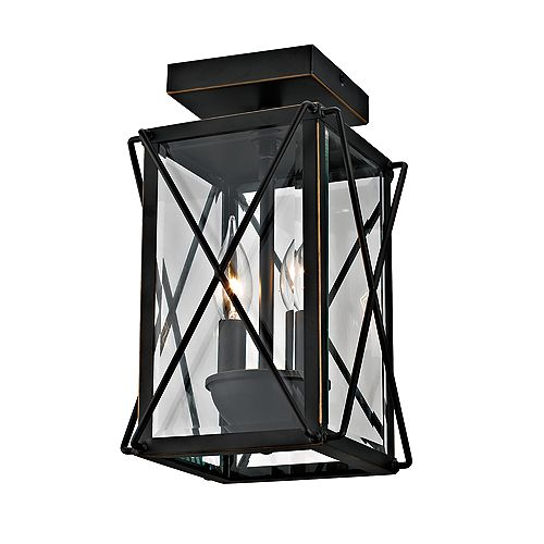 Bamberg Collection 2-Light Outdoor Flush Mount with Beveled Glass, Oil-Rubbed Bronze Finish