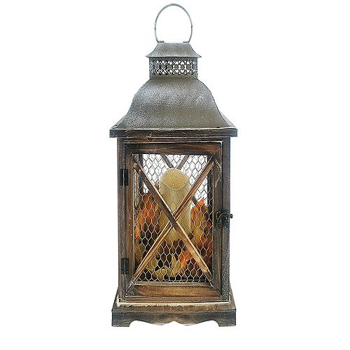 Home Accents Holiday 16.5 inch LED Lantern with Galvanized Top with Timer