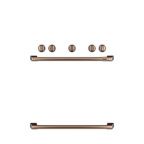 44-inch W Freestanding Gas Range Handle and Knob Kit in Brushed Copper