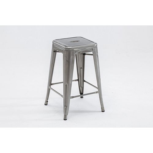 The Original Tolix Chair Collection, Counter Stool, Polished Silver Gloss - Set of 2