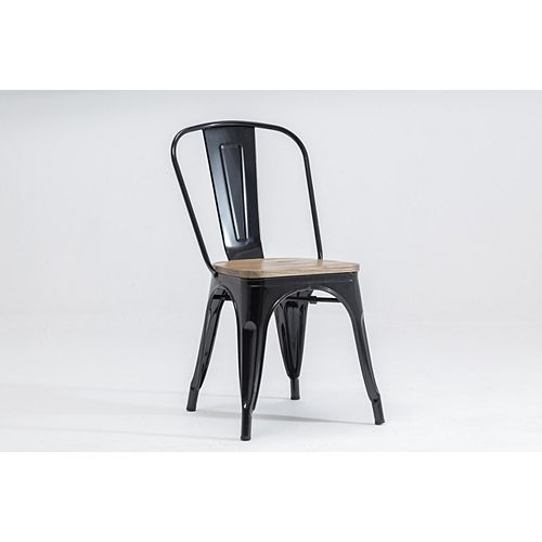 The Original Tolix Chair Collection, Dining Chair - Satin Black & Elm Wood - Set of 2