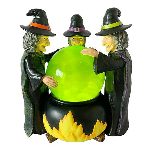 8-inch LED-Lit Witches with Crystal Ball Halloween Decoration