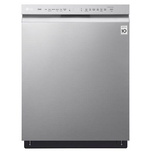 Lave-vaisselle à commande frontale en acier inoxydable résistant aux salissures avec cuve en acier inoxydable, 48 dBA