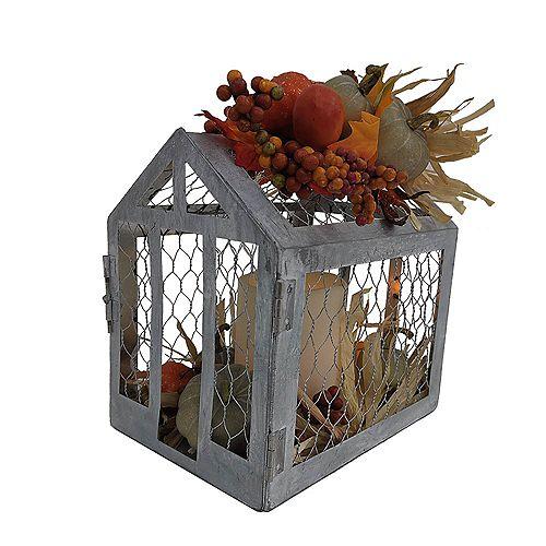 25,4 cm Lanterne à DEL en forme de maison en maille