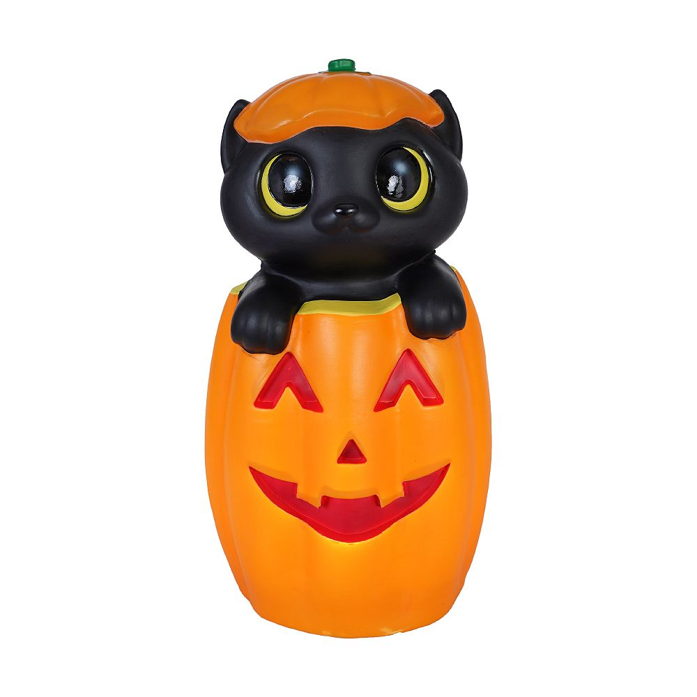 Home Accents Holiday 17 Inch Cat In Jack O Lantern The Home Depot Canada