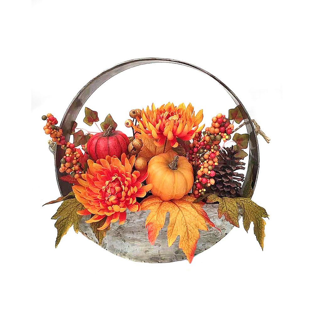 Home Accents Holiday 14.5-inch Hanging Metal Basket with Flowers