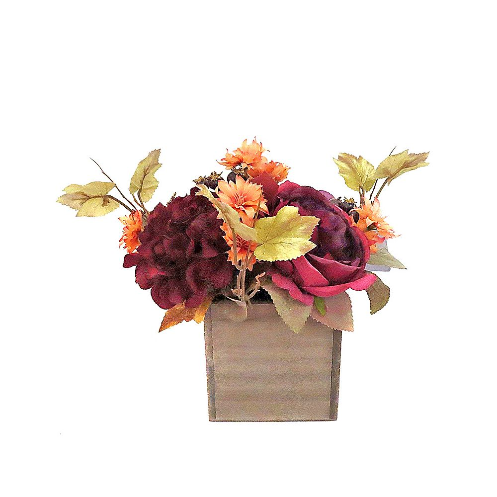 Home Accents 10-inch Dahlia and Rose in Wood Container