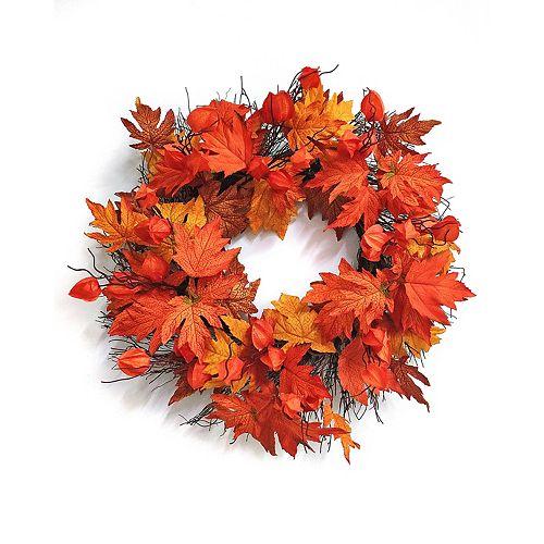 26-inch Maple Leaf with Lantern Flower Wreath