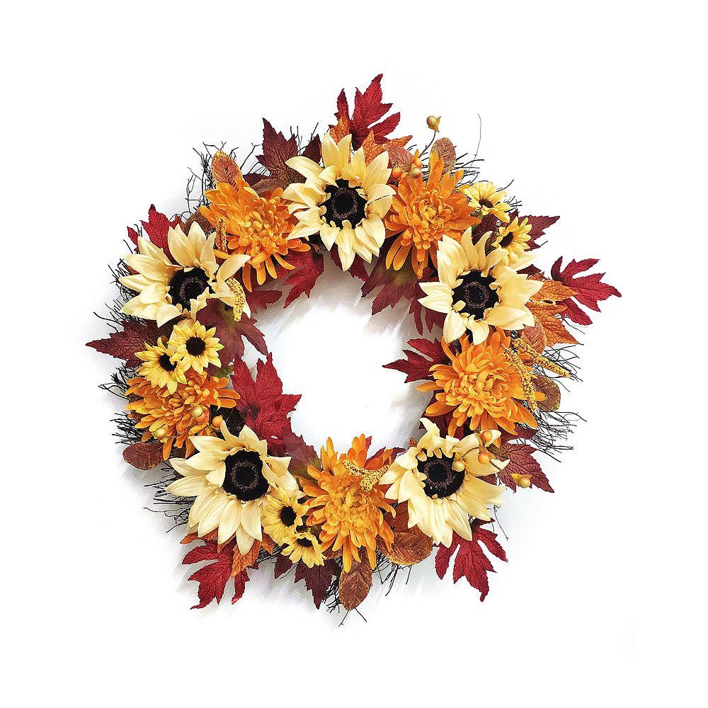 Home Accents Holiday 66 cm Couronne de chrysanthèmes et tournesols