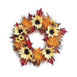 66 cm Couronne de chrysanthèmes et tournesols