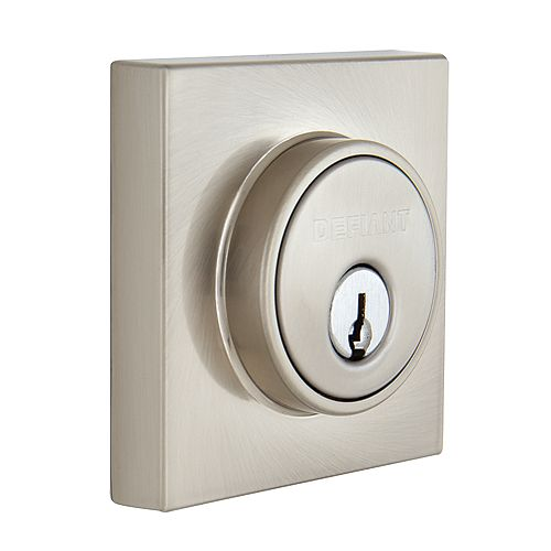Contemporary Satin Nickel Square Single Cylinder Deadbolt