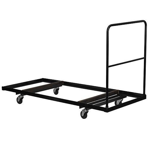 Chariot noir pour tables pliantes rectangulaires de 30 po larg. x 72 po prof.