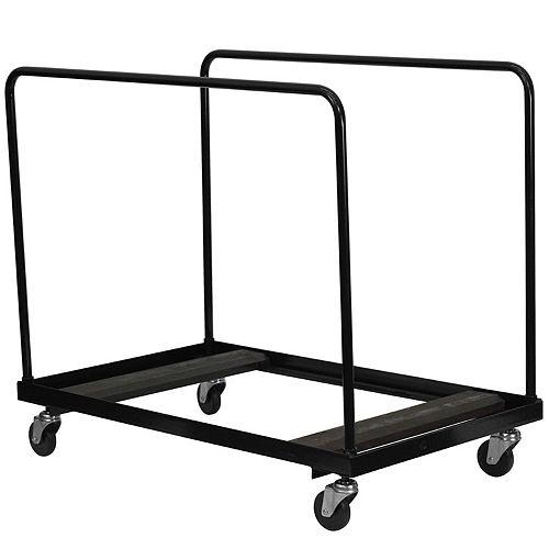 Chariot noir pour tables pliantes rondes