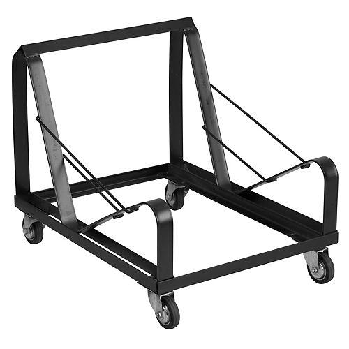 Chariot noir en acier pour chaise empilable à base traîneau de la série HERCULES
