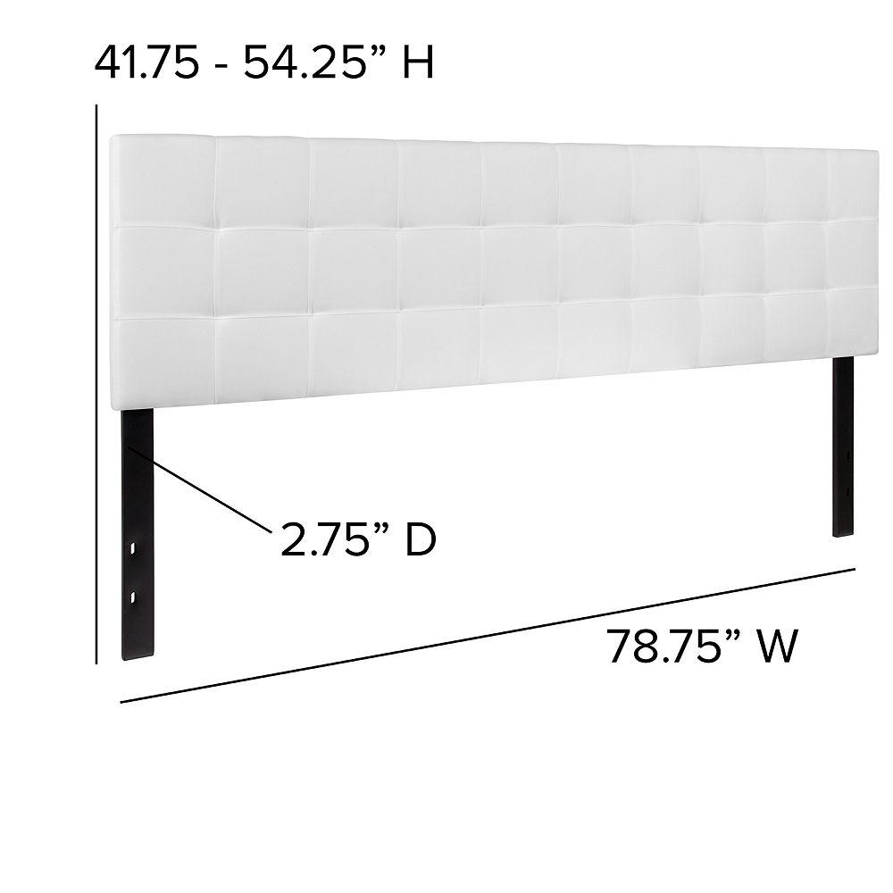 Flash Furniture Tête de lit Bedford très grand touffetée et rembourrée en tissu blanc