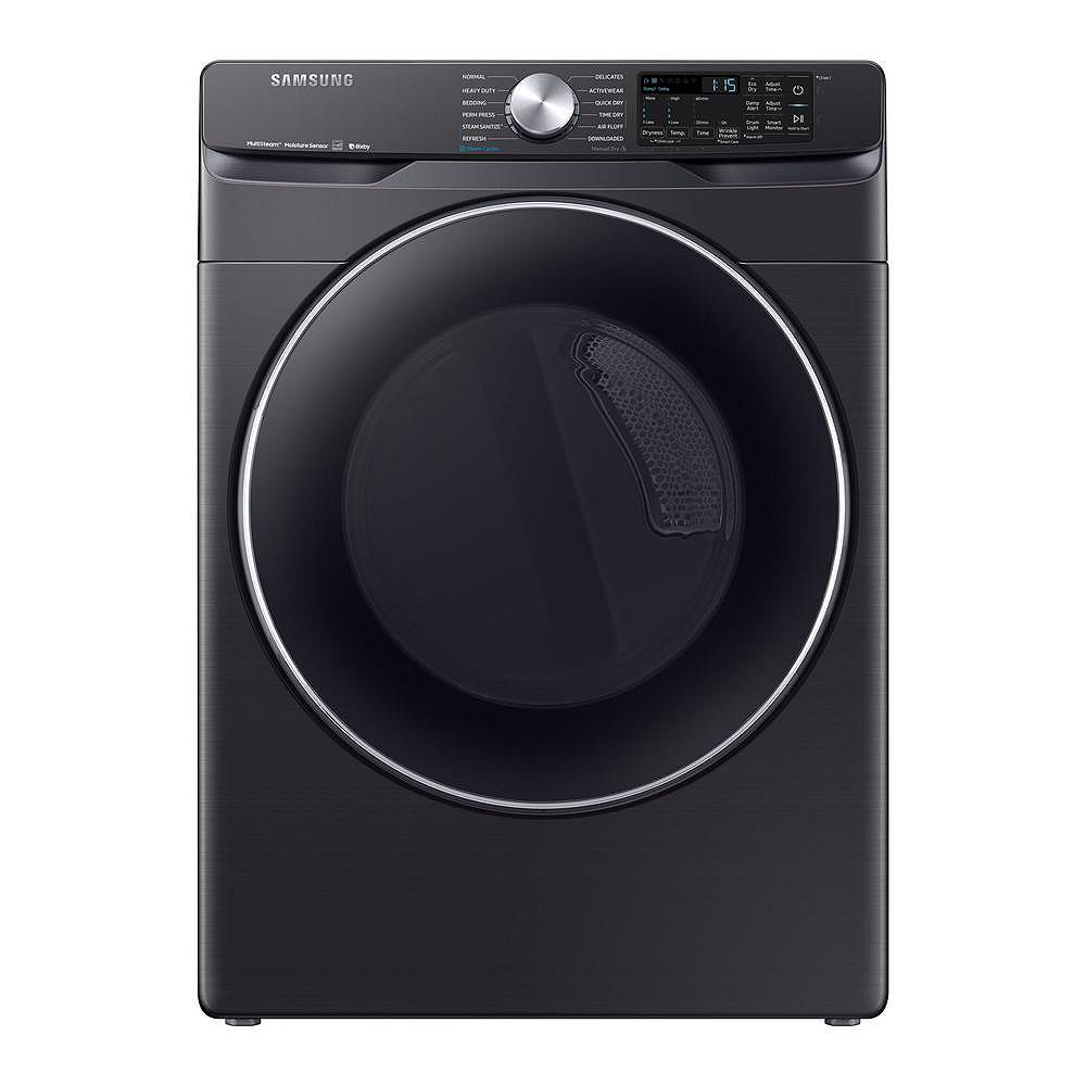 Samsung 7.5 cu. ft. Electric Dryer with Steam and Wi-Fi in Black Stainless Steel DVE45R6300V