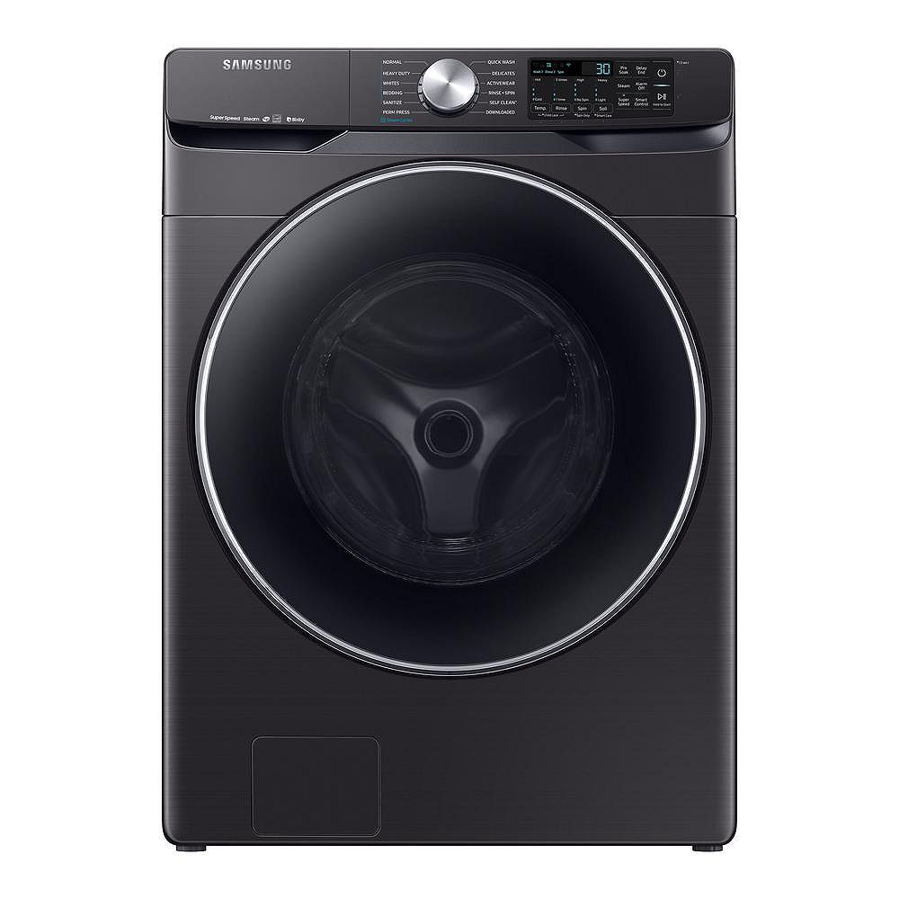 Samsung 5.2 cu. ft. High-Efficiency Front Load Washer with Steam and Wi-Fi in Black Stainless Steel - ENERGY STAR®