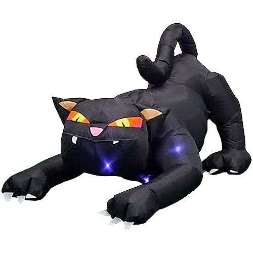 Animated Airblown Black Cat with Turning Head Halloween Decoration