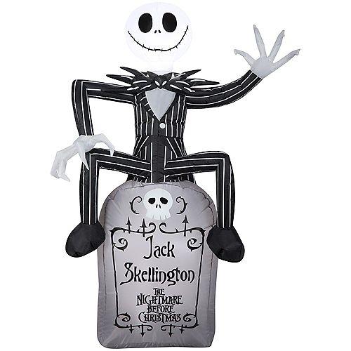 Airblown Jack Skellington on a Tombstone Halloween Decoration