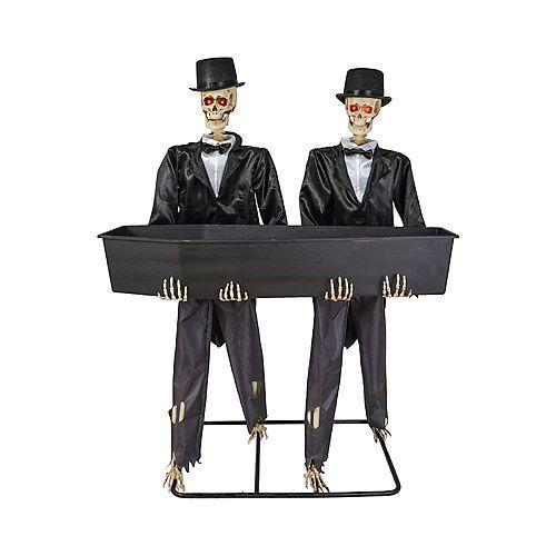 5 ft. LED Skeletons with Coffin Drink Holder