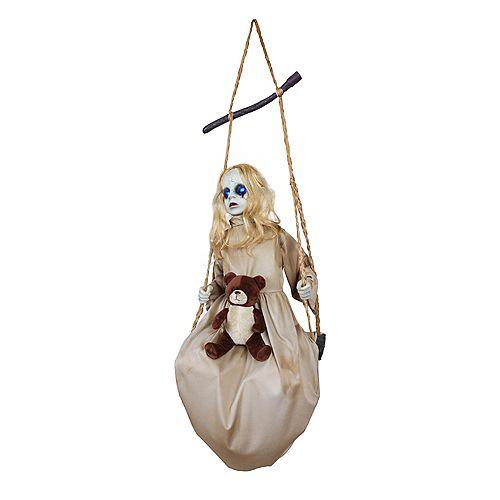 5 ft. Animated LED-Lit Swinging Doll Halloween Decoration