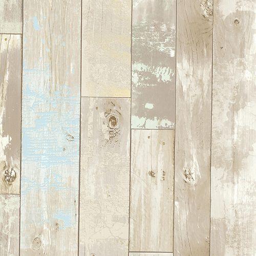 Papier peint en bois vieilli Dean, neutral