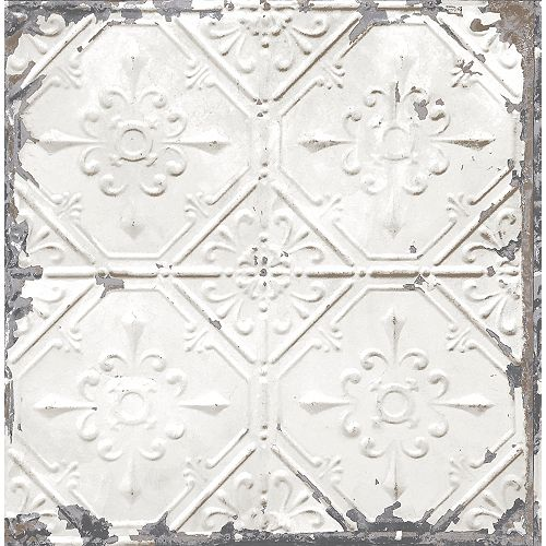 White Tin Ceiling Wallpaper
