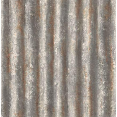 Charcoal Corrugated Metal Wallpaper